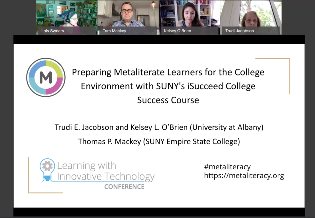 Image of Webex recording of metaliteracy presentation.